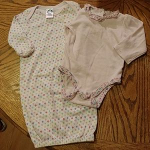 Other - Footless onsie with fold-over mittens/floral onsie